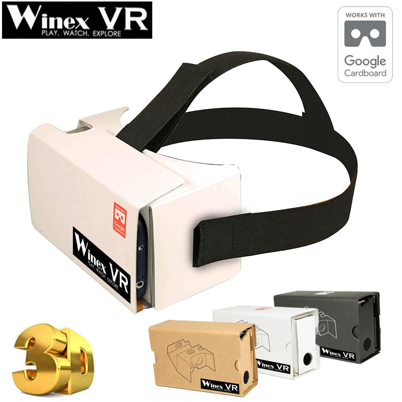 2017 Winex Google Cardboard HeadMount Virtual Reality 3D Glasses Goggles VR BOX VR SHINECON BOBO VR for 3.5″- 6″ Phone