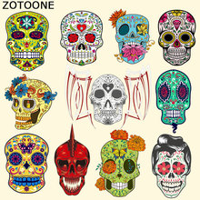 ZOTOONE West Coast Style Skull Iron on Patches for Clothes Pyrography Heat Transfer DIY T-Shirt Clothing Decoration Printing C
