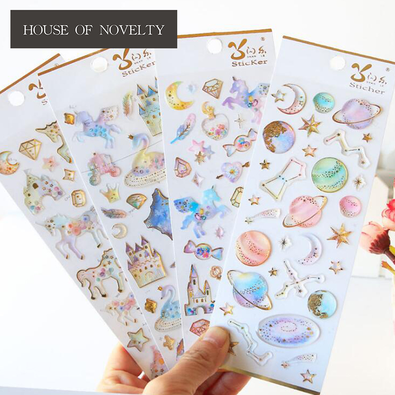 Pegasus Unicorn Castle Label Stickers Set Decorative Stationery Craft Stickers Scrapbooking DIY Diary Album Stick Label spring and fall leaves shape pvc environmental stickers decorative diy scrapbooking keyboard personal diary stationery stickers