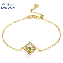 LAMOON 14K Yellow Gold Charm Bracelet For Women 0.06ct 100% Natural Emerald S925 Sterling Silver Fine Jewelry Accessory HI003