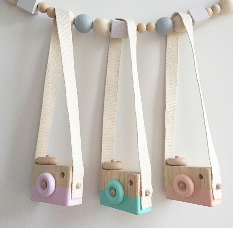 Cute Nordic Style Hanging Wooden Camera Toys Baby Kids Safe Natural Educational Toys Fashion Home Photography Prop Decor Gifts(China)
