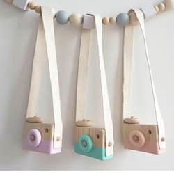 Милый скандинавский стиль Висячие деревянная камера Игрушки для маленьких детей безопасные натуральные развивающие игрушки модные