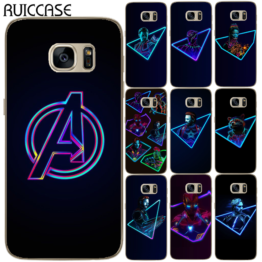 Galleria fotografica For Coque Samsung Galaxy S3 S4 S5 Mini S6 S7 Edge S8 S9 Plus Case Cool Heros Avengers Marvel Transparent Soft TPU Phone Cover
