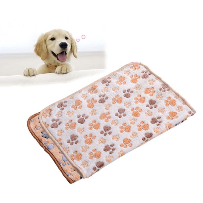 New Arrival 3 Colors Cute Floral Pet Sleep Warm Paw Print Towel Dog Cat Puppy Fleece Soft Dog Blanket Pet Dog Beds Mat