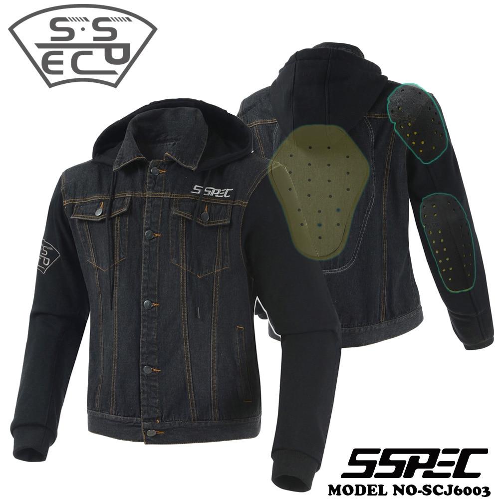 SSPEC Mens Denim Motorcycle jacket Spring Summer Motorbike motocross JACKET Sweatshirt hoodie chaqueta de moto protective