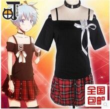 Anime Assassination Classroom cosplay Shiota Nagisa Assassinate Set woman's blue skirts set cos halloween party Turn women