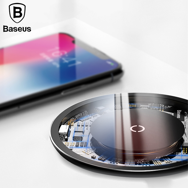 Baseus 10W Qi Wirelss Charger for iPhone X/8 Visible Fast Wireless Charging for Samsung Galaxy S9/S9+ S8 Note 8 Xiaomi Huawei