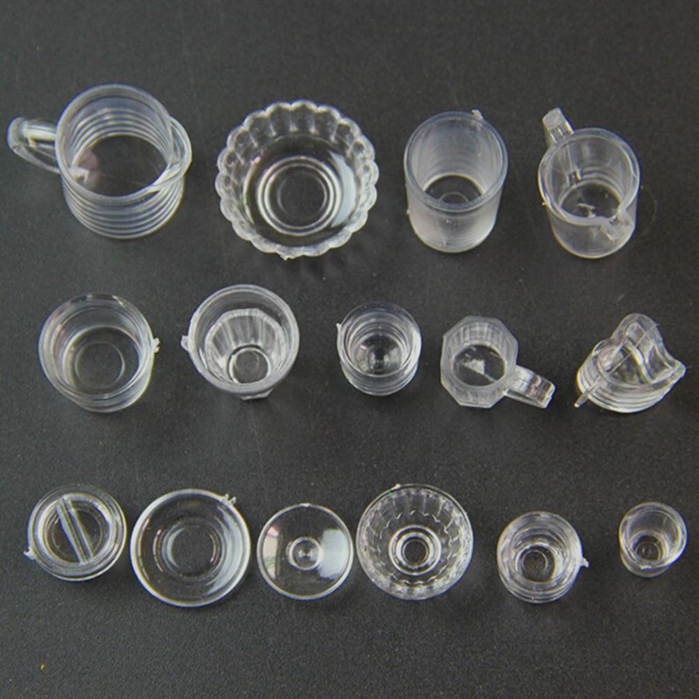 15pcs Dollhouse Cup Set Mini Plastic Doll House Miniatures Tableware De Michel Sandal Flat Wanita Princess Putih Aeproductgetsubject
