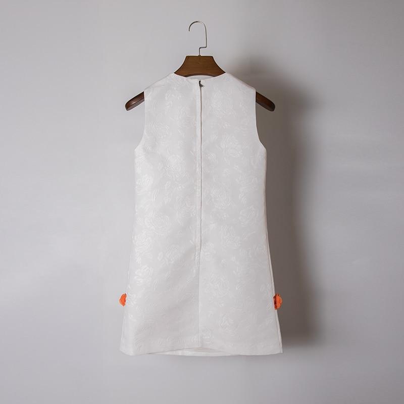 Blanc Court Appliques Sans Imprimé Manches 2019 Floral Piste Robe Conception Mini D'été Haut Diamants Doux Femmes Pour Femme 5R3Aj4L