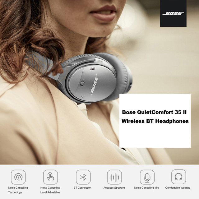 Bose Wireless Bluetooth Earphones QuietComfort 35 II ANC Over Head Bass Headsets Acoustic Noise Cancelling Headphones with Mic