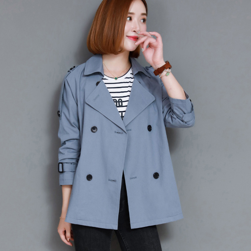 2019 Women Clothing Spring Autumn New Women Short Windbreaker Solid Color Lapel Double Breasted Loose Casual Trench Coat LQ298