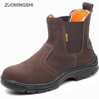 Leather work boots safety shoes men boots with steel toe and sole erkek bot work shoes