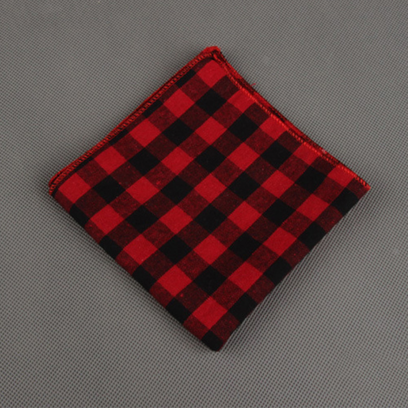 Mantieqingway Causal Striped & Plaid Pocket Square Printed Hankies Chest Towel Brand Mens's Cotton Handkercheifs For Wedding