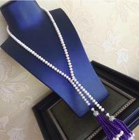 new jewelry style 8 mm south long 40 white pearl necklace Christmas gift