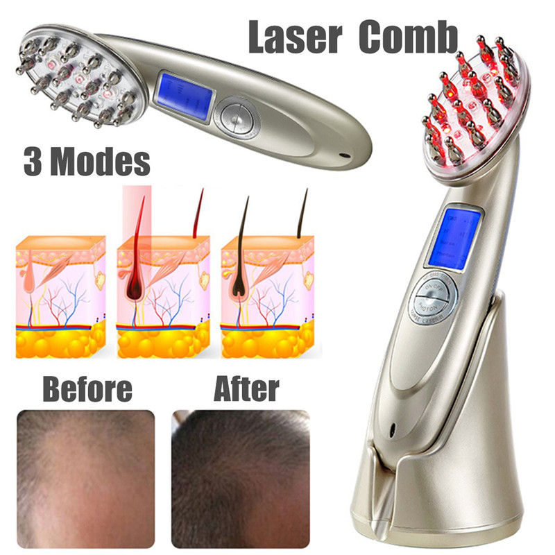 Rechargeable Laser Stimulate Hair Growth Comb Regrowth Brush LED Photon Head Scalp Repair Massager Anti Hair Loss Health Care laser hair growth comb photon light therapy anti hair loss massager hair regrowth comb hair scalp massage brush head massager
