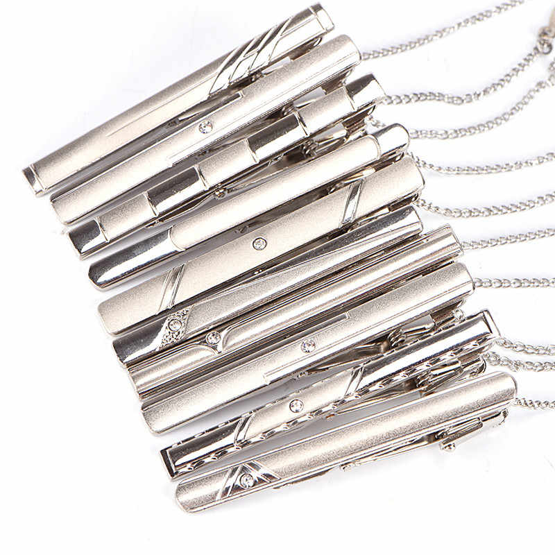 Men Silver Necktie Tie Clip Stainless Steel Plain Clasp Bars Pins Clips Jewelry