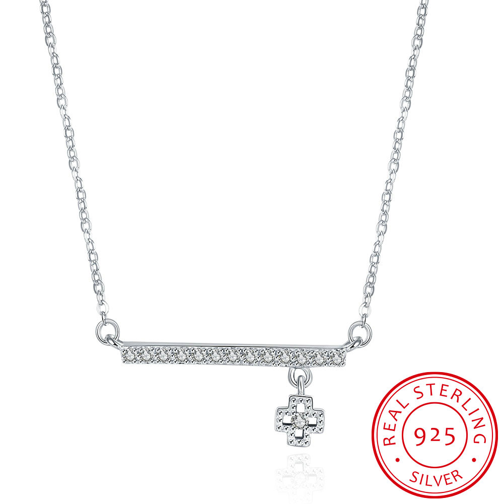 925 Sterling Silver Personalized Korea Alicate Simple Cross Chain Collier Collares Pendants Necklaces Women font b
