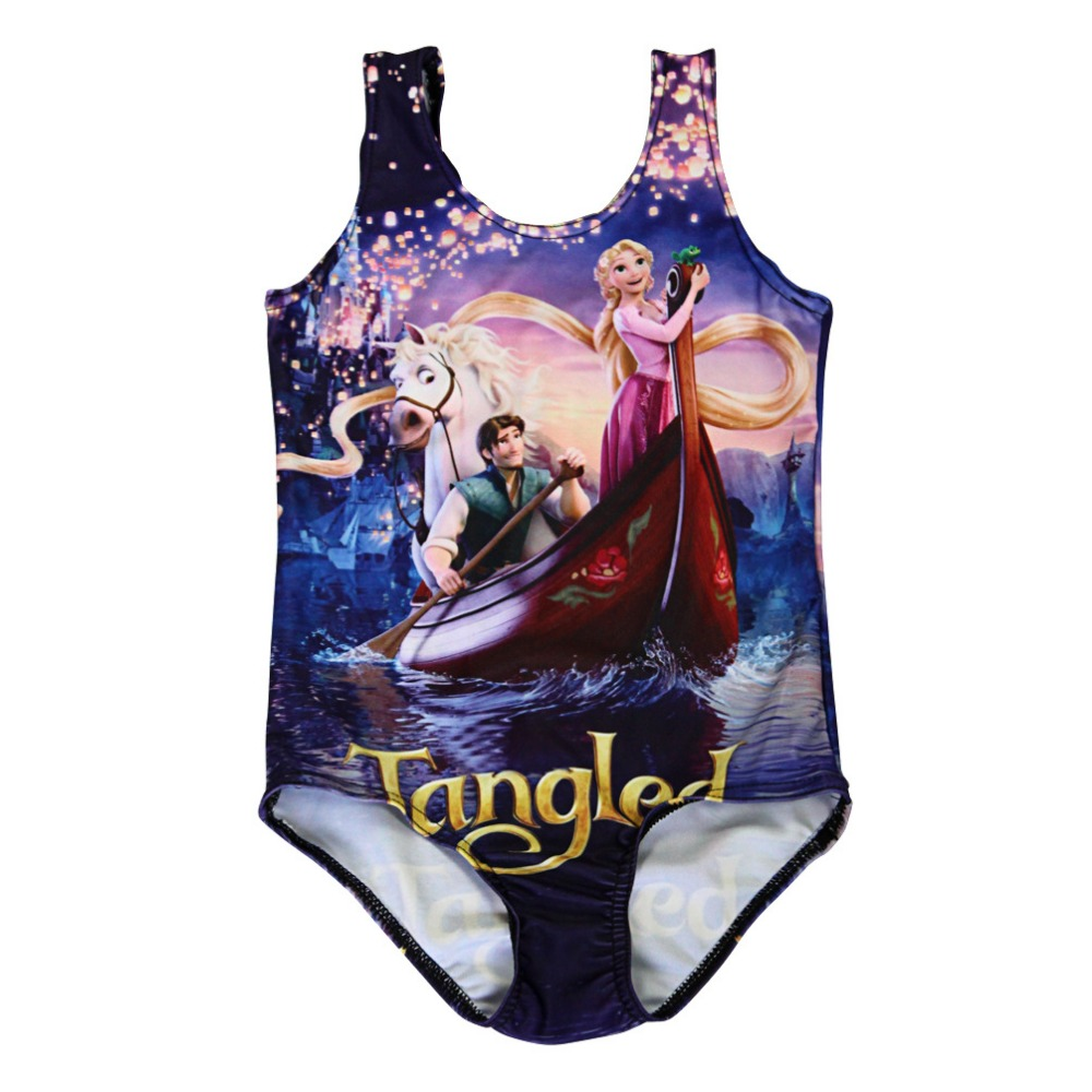 NEW 0006 Children Girl Summer cartoon beautiful tangled princess 3D Prints One-piece Swimsuit Swimwear Kids bathing suit