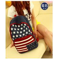 Hot sales! New American Flag Retro Womens Canvas Travel Rucksack School Bag Casual Backpack