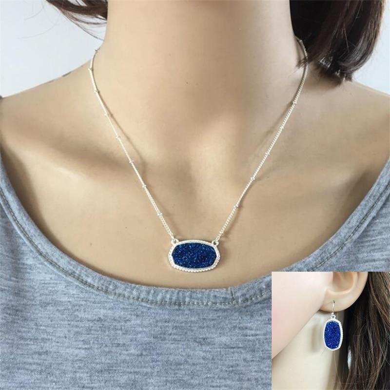 Jewelry Set Druzy Hexagon Pendant Necklace Drusy Hoop Earrings Silver Plated Chain Jewelry 40
