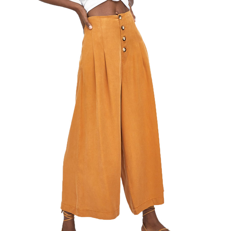 Summer   pants   women casual high waist   pants   loose women clothes 2018 orange   wide     leg     pants