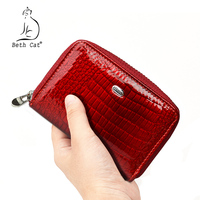 Beth Cat Womens Zipper Genuine Leather ID Card Holder Wallets Women Alligator Credit ID Holders Female