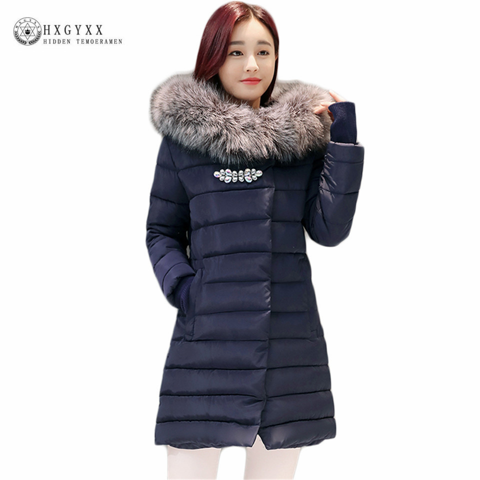 Hooded Fur Parka Woman Winter Coat 2017 New Slim Down Cotton Padded Puffer Jacket Plus Size Warm Single Breasted Outwear OK425