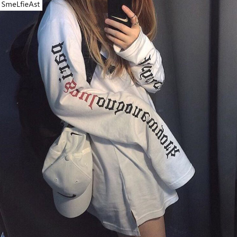 2018 New SLA Women Lettere Full O-neck Loose Slim Student Spring Autumn Fashion Vintage Korean Style Sweethearts Outfit T-shirt
