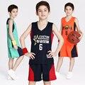 2017 Nova Crianças Reversíveis Basquete Jerseys Uniformes de Ambos Os Lados Equipe de Crianças Menino Treino Trainning Camisa & Shorts Conjuntos Personalizados