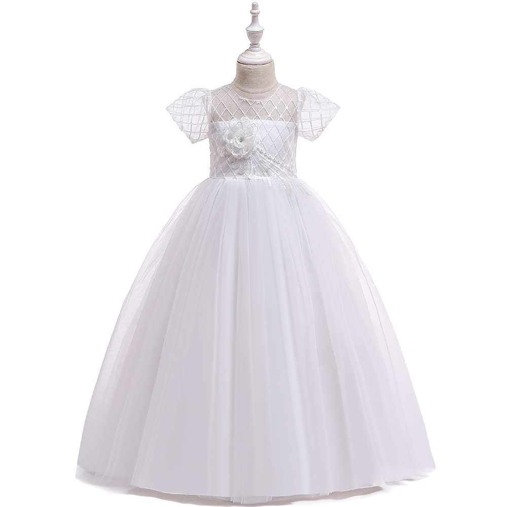 Romanic Ballgown Short Sleeves White Flower Girl Dress For Wedding 2020 Tulle Long Girl's Birthday Party Dress