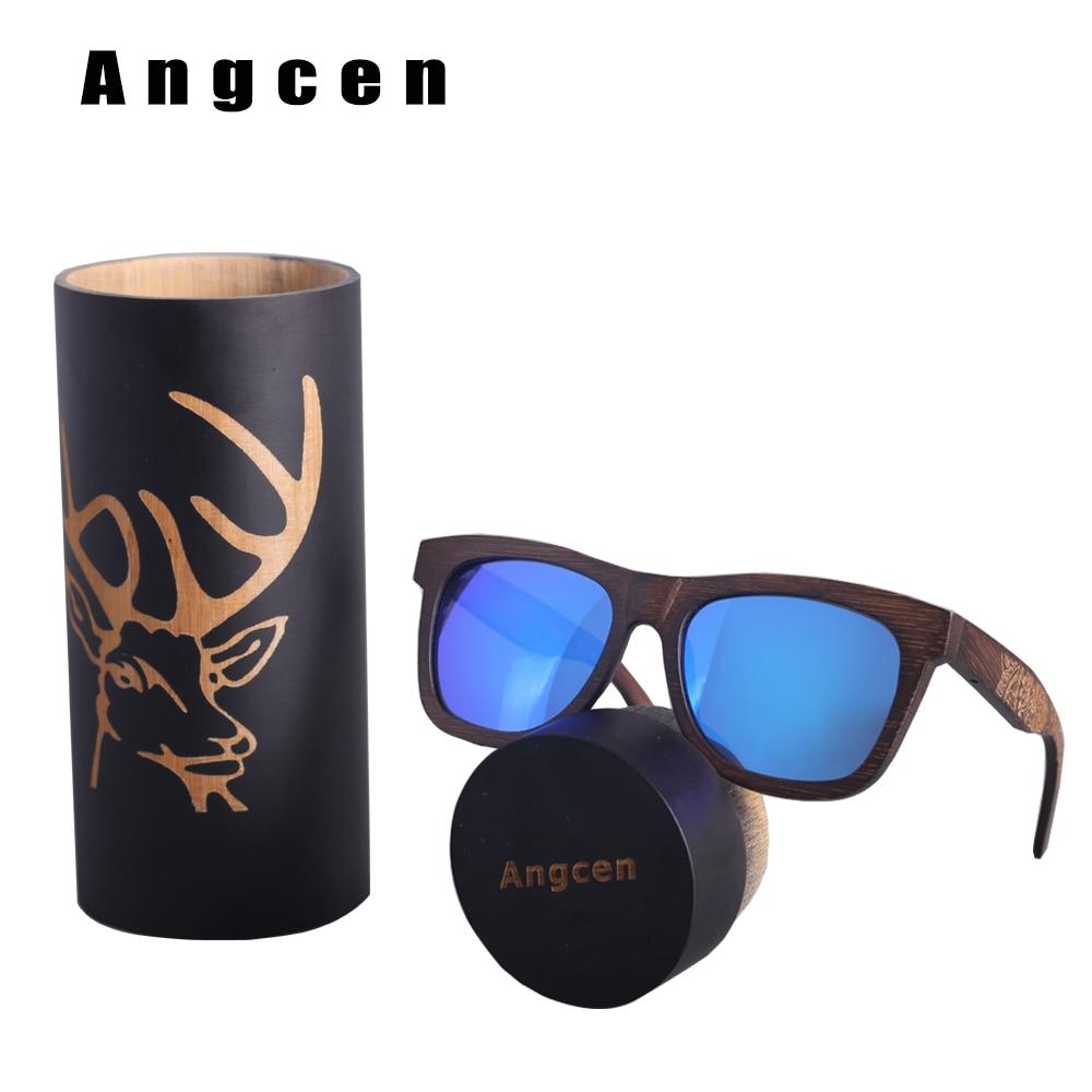 Angcen Luxury Deer Wooden Sunglasses Men Polarized Retro Wood Sun Glasses Women Handmade Vintage bamboo sunglasses in Round Box