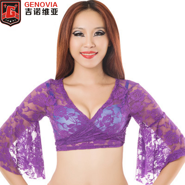 edd84dcff6b344 2019 Belly Dance Bolero Lace Top Flared Blouse Women Sexy Lace Top Female  Dance Clothes Colour 13