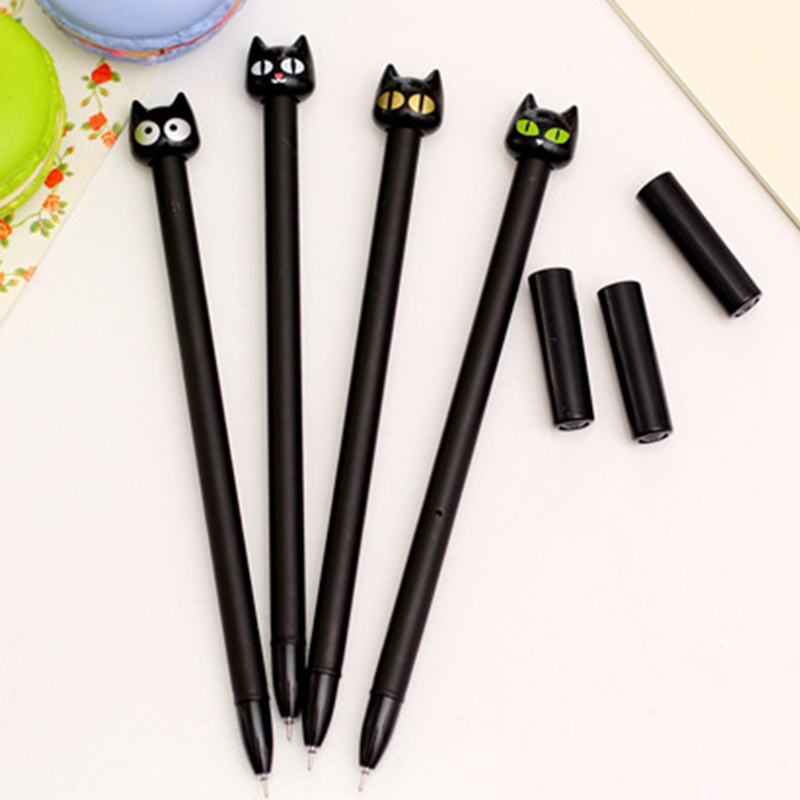 1Pc 0.5mm Cute Black Cat Gel Pen Expression Random Black Ink For School Writing Office Supplies Stationery Pens Material Escolar