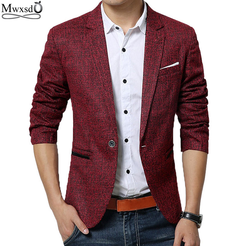 Mwxsd Spring Autumn Men Casual Blazer Suit Mens Cotton Suit Jacket Slim Fit Men'S Classic Smart Casual Blazer For Male