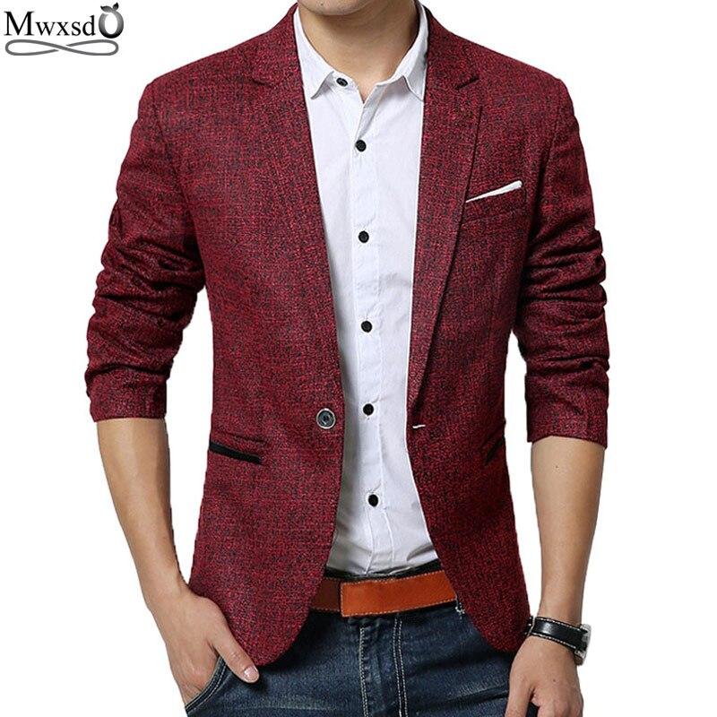 Mwxsd márka tavaszi őszi férfiak alkalmi Blazer öltöny férfi pamut ruha kabát vékony fit Férfi klasszikus intelligens alkalmi blézer férfi