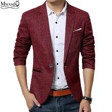 Mwxsd бренд весна-осень Для мужчин Повседневная Блейзер костюм Для мужчин s хлопковый костюм пиджак slim fit Для мужчин Классические smart casual блейзер для мужчин
