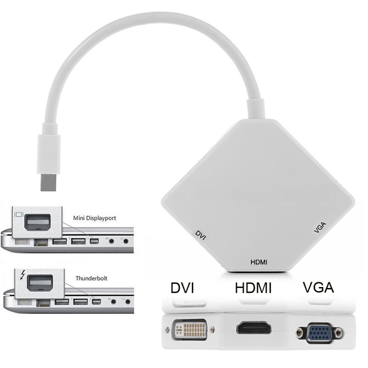 Mini DP DisplayPort Thunderbolt to VGA HDMI DVI Converter Adapter for MacBook Air Pro Mac For Microsoft Surface Pro 1 2 3 pro 3 in1 thunderbolt display port mini dp to dvi vga hdmi adapter converter cable for macbook pro air high quality