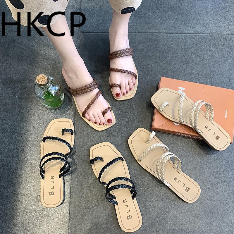 HKCP Mode Sandales Femmes Printemps 2019 Nouvelle Version Coréenne De Tongs Plat Avec Tête Plate Tissée Chaussures Pour Femmes C156