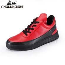 YINGLUNQISHI 2016 New Design Men Casua High – top Shoes Men' s High Shoes Tide Shoes Korean Boots Shoes Men Fashion Red