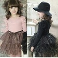 EMS DHL Retail Wholesale girls Kids New Spring Autumn Sequin Sparkle Tiers Tulle Dress Children Toddlers's Dress 2 Colors