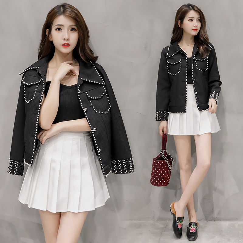 temperament Beading Black Tweed Jacket Coat Women 2018 Spring Autumn Slim elegant jackets Ladies Fashion Overcoat Casual Coat