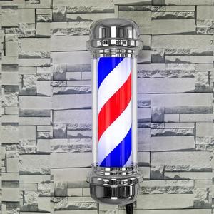Image 2 - 110V/220V LED Barber Shop Zeichen Pol Licht Rot Weiß Blauen Streifen Design Roating Salon Wand Hängen licht Lampe Schönheit Salon Lampe