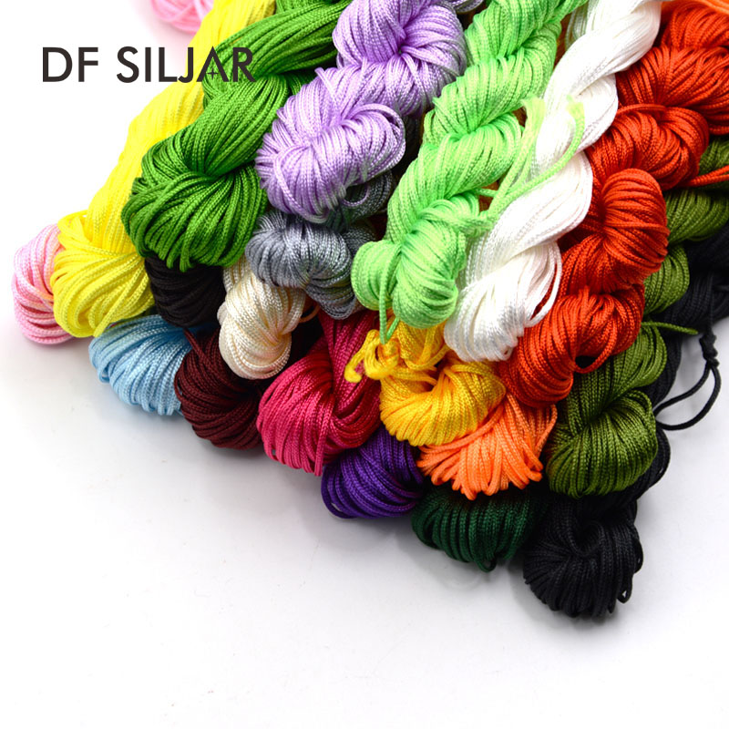 1mm 19 Colors Nylon Cord Thread Chinese Knot Macrame Rattail Shamballa Rope For DIY Bracelet Braided Jewelry Findings