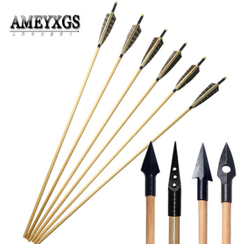 9/12pcs Turkey Feather Wooden Arrow Diameter 8mm Handmade Wood Arrows Shaft With Traditional Arrowhead Shooting Accessories