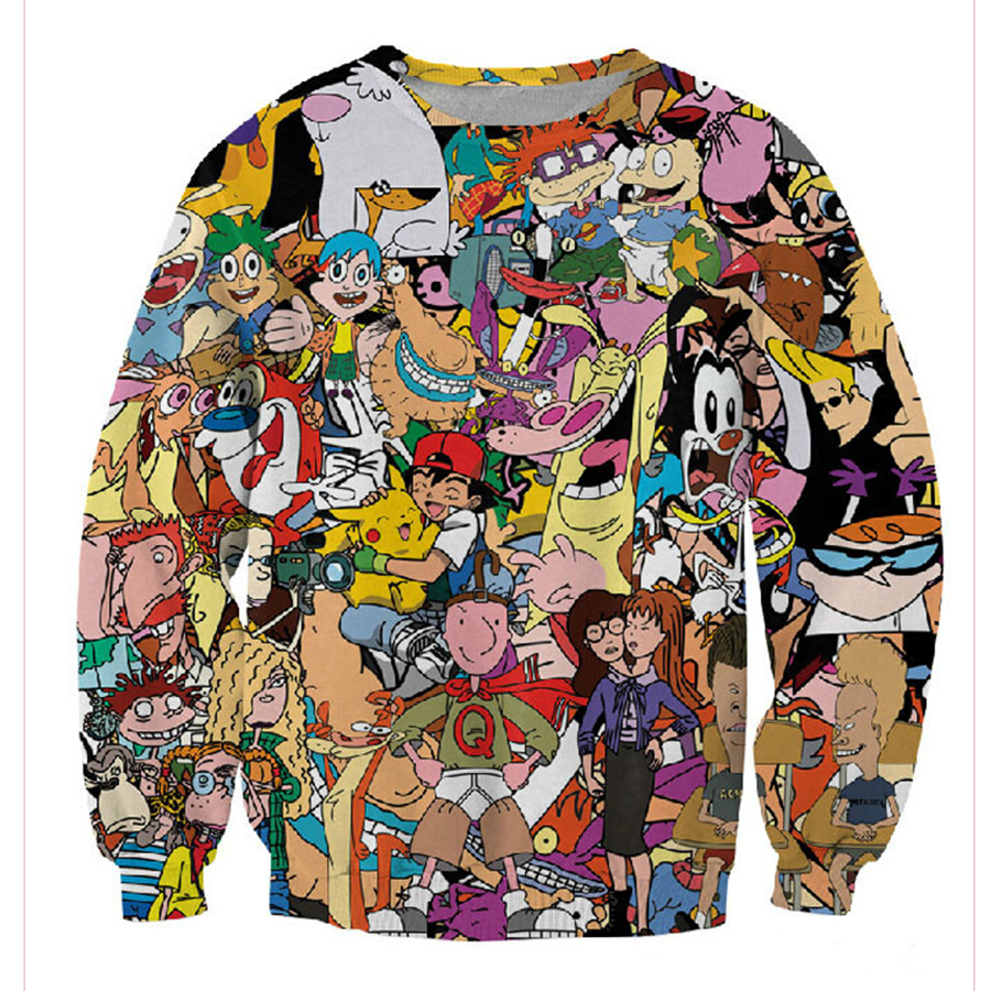 2019 Post 90s Cartoon Print 3d Sweatshirt Men/women Cartoon Hoodies Clothes Moleton Masculino SIZE XS-7XL Free Shipping