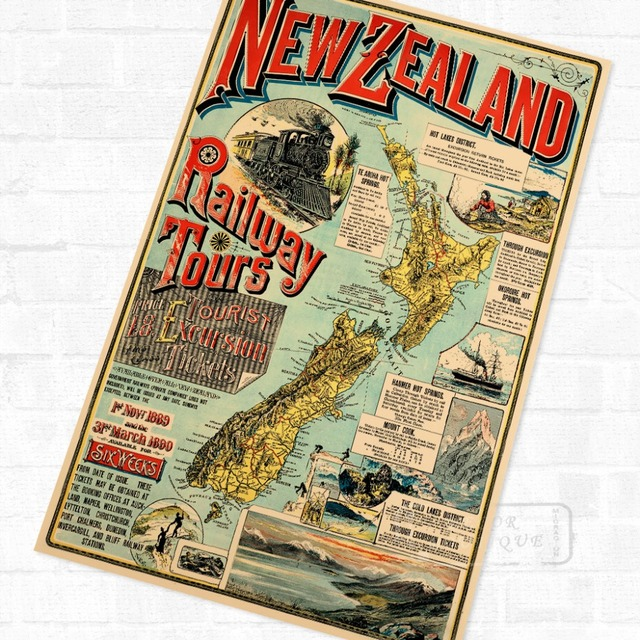 NZ New Zealand Map Maori Travel Vintage Poster Retro