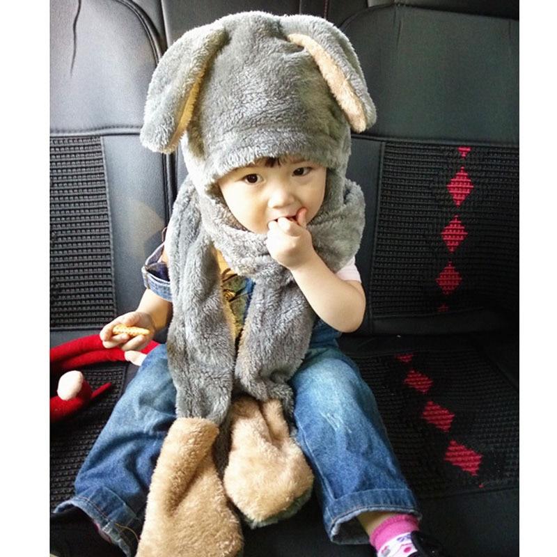 Mode Kinder 3 Teile/satz Schal Mütze Handschuh 195x17 Cm Hijab Winter Nette Kinder Kaninchen Wärmer Pashminas Schal Wickelt Schals Extrem Effizient In Der WäRmeerhaltung