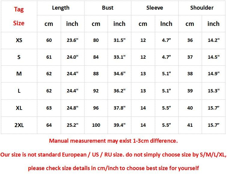 Remember? No Tee Size Table
