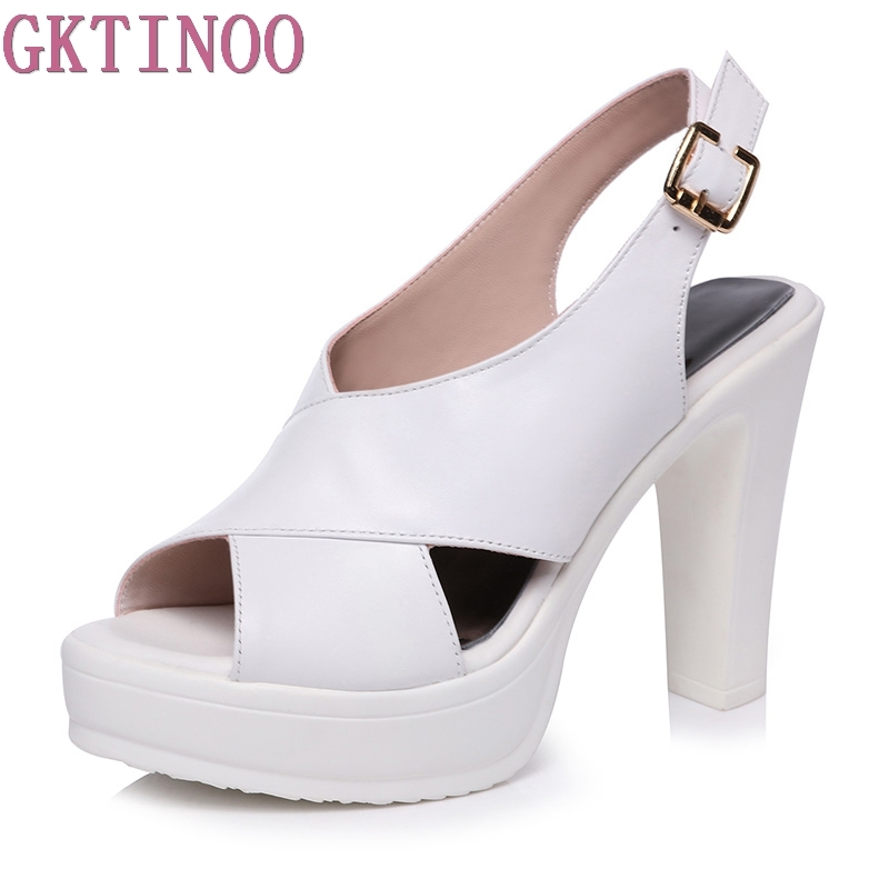 GKTINOO Summer Shoes Women Sexy High Heel Sandals Ladies Platform Sandals Women Peep Toe High Heels Cross-Strap sandalia women summer solid color 13cm sky high sandals for women cut out cross strap high heel sandals sexy metal heels party shoes