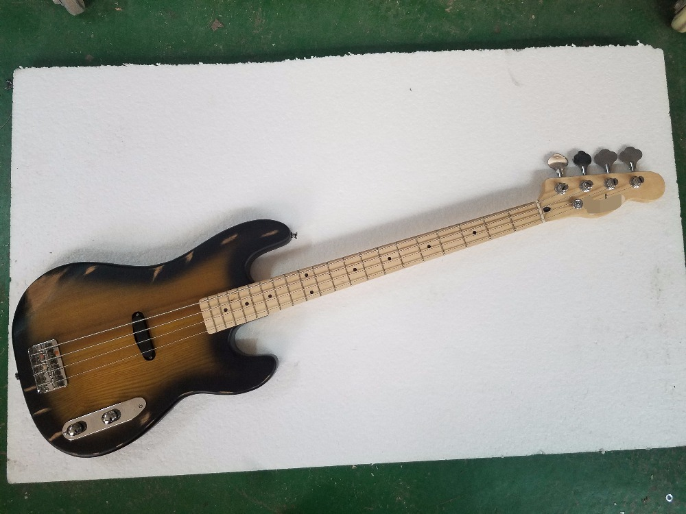 Top qualité relique 4 cordes ancien utilisé vintage délavé guitare basse électrique cendres corps précision basse instrument de musique boutique
